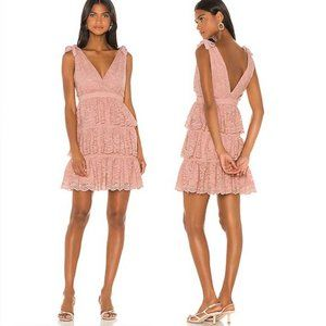 Bardot Roxie Lace Tiered Cocktail Dress in Pink L